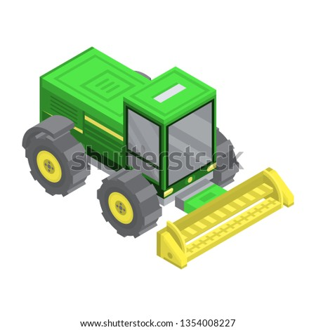 Farm machinery icon. Isometric of farm machinery icon for web design isolated on white background