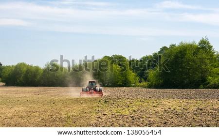 Farm machinery in the field.
