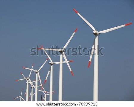 Farm of wind turbines; telephoto shot