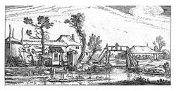 Farm on a canal near Haarlem, Esaias van de Velde, 1615 - 1616