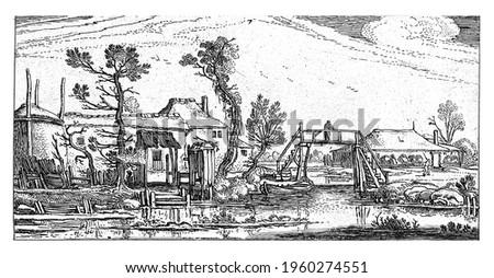 Farm on a canal near Haarlem, Esaias van de Velde, 1615 - 1616 Stockfoto ©