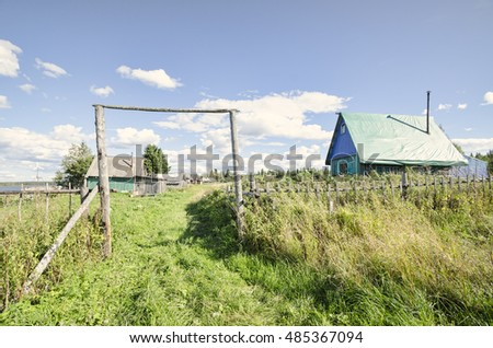 Farm on the lake. Russia, Arkhangelsk Oblast, Primorsky district, Izhmozero #485367094