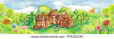 Farm, village in the valley