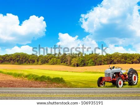 Farm With Blue Cloudy Sky