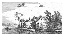 Farm with dovecote on a river, Esaias van de Velde, 1610 - 1650