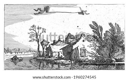 Farm with dovecote on a river, Esaias van de Velde, 1610 - 1650 Stockfoto ©