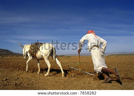 Farmer at work in Yemen - stock photo