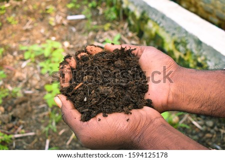 Farmer holding pile of vermicompost. Male agronomist showing compost manure. Can be use as fertilizer to accelerate the growth of plant in organic farming. Organic farming concept.