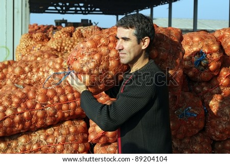 Farmer in agricultural warehouse.  Young farmer carrying a sack of onions in the warehouse.