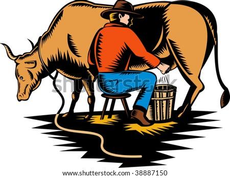 Cartoon+farmer+milking+a+cow