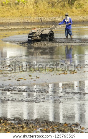 Farmer preparing the ground for the growth of rice in  Thailand