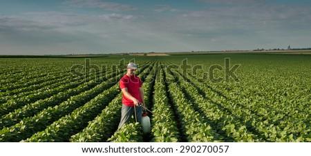 Farmer spraying soybean field  #290270057