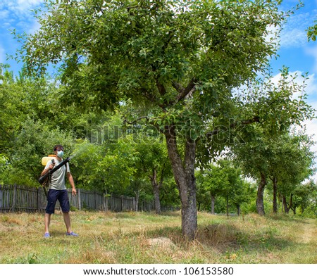 farmer spraying the trees with chemicals