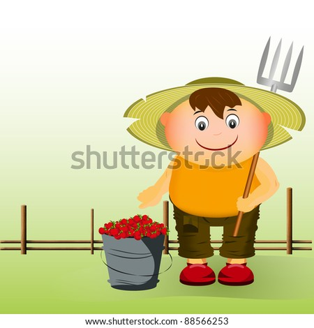 farmer with a bucket of strawberries near the fence