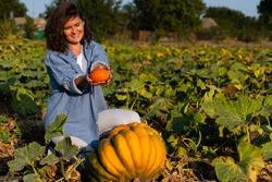 Farmer with pumpkin on a pumpkins field at sunset
