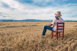 Farmer with straw hat and hoe sitting on a red chair in the middle of the field. Agriculture concept.