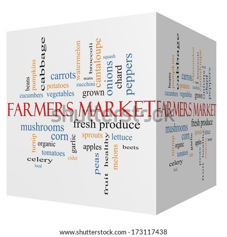 Farmers 3D cube Market Word Cloud Concept with great terms such as fresh, produce, local and more.