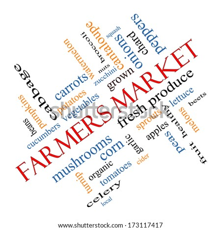 Farmers Market Word Cloud Concept angled with great terms such as fresh, produce, local and more.