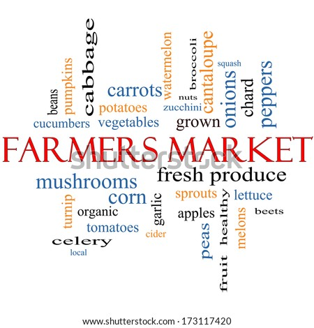 Farmers Market Word Cloud Concept with great terms such as fresh, produce, local and more.