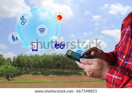 Farmers using smart phone to monitor.Smart Agriculture and Internet of things in agriculture concept. #667348855