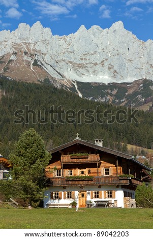 "Farmhouse at ""Zahmer Kaiser"" mountains in Tyrol, Austria"