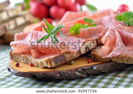 Farmhouse bread with delicious salami