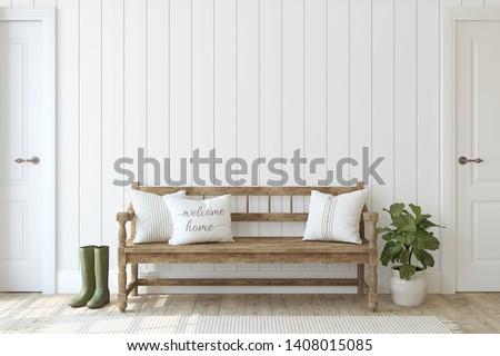 Farmhouse entryway. Wooden bench near white shiplap wall. Interior mockup. 3d render.