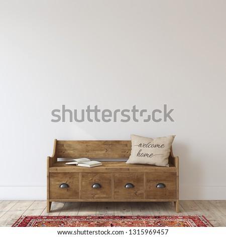 Farmhouse entryway. Wooden bench near white wall. Interior mockup. 3d render.
