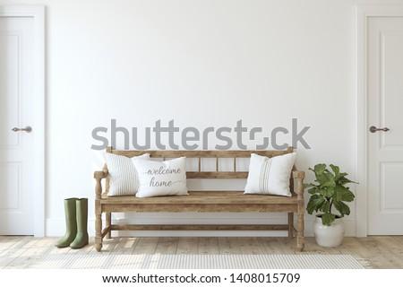 Farmhouse entryway. Wooden bench near white wall. Interior mockup. 3d render. Сток-фото ©