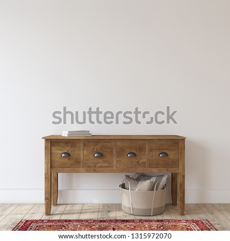 Farmhouse entryway. Wooden console table near white wall. Interior mockup. 3d render.