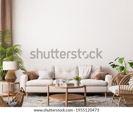 farmhouse interior living room, empty wall mockup in white room with wooden furniture and lots of green plants, 3d render, 3d illustration