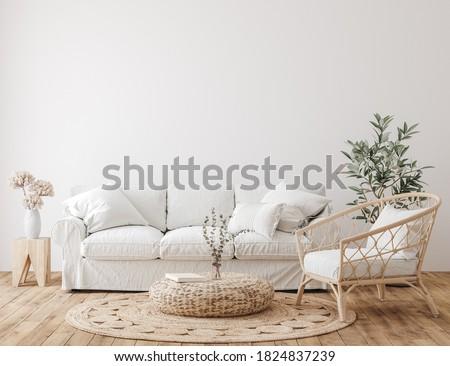 Farmhouse living room interior background, wall mockup , 3d render