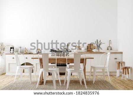 Farmhouse style kitchen interior, 3d render Foto stock ©