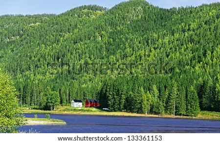 Farmhouses on lake in forrest