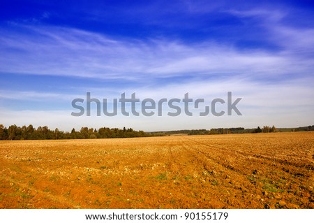 Farming field near forest and sunny cloudy sky