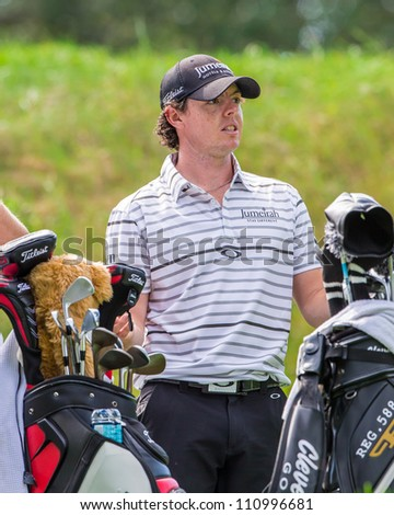 FARMINGDALE, NY - AUGUST 21: Rory McIlroy as he plays in the Barclays on Bethpage Black on August 21, 2012 in Farmingdale, NY.