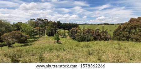 Farmland in Gippsland Australia. Lush green farmland. #1578362266