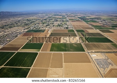 Farmland in the far west valley of Phoenix, Arizona from above - stock photo