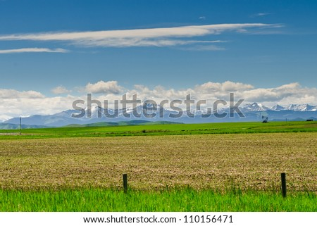 Farmland in the foothills of Alberta, Canada