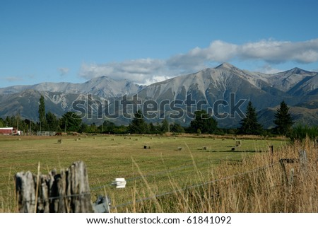 Farmland, rural and mountain scene in central South Island, New Zealand.