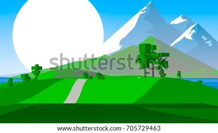 Farmland rural cartoon landscape.