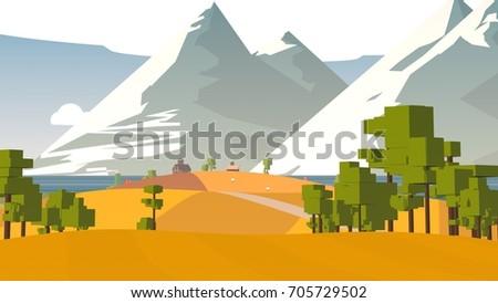Farmland rural cartoon landscape.