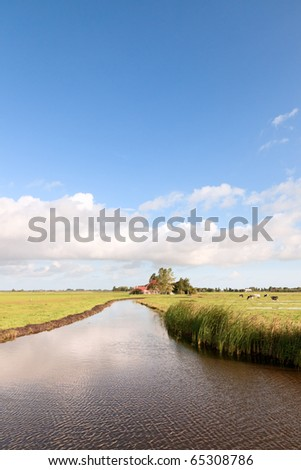 Farmland with canal and cows under cloudy sky, the Netherlands - stock photo