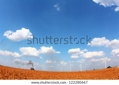 Farmland With Wind turbine, in nakhonratchasima city at thailand (Shooting with fisheye lens)