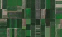 Farmlands (agriculture fielsd) and irrigation canals in Netherlands aerial wiev