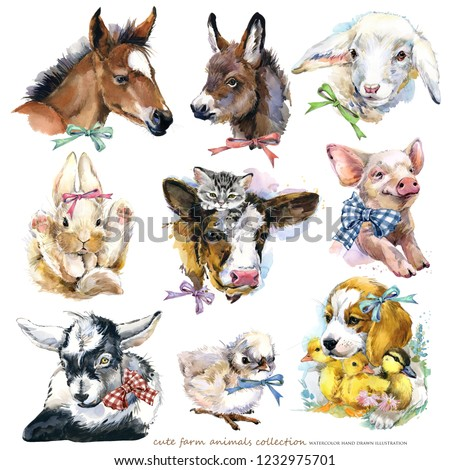 farms animal set. Cute domestic pets watercolor illustration
