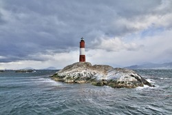 Faro Les Eclaireurs in Beagle channel close Ushuaia city, Tierra del Fuego, Argentina