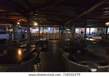 FARO, PORTUGAL: 01st SEPTEMBER, 2017 - Interior view of the bar restaurant O Castelo at sunset, located on Faro city, Portugal. - Shutterstock ID 728502379
