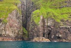 Faroe islands sea cliffs in Vestmanna area. Streimoy island, Denmark