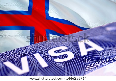 Faroe Islands Visa Document, with Faroe Islands flag in background, 3D rendering. Faroe Islands flag with Close up text VISA on USA visa stamp in passport.Visa passport stamp travel Faroe Islands